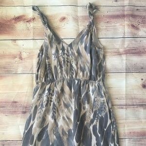 Banana Republic Twist Strap Grey and Tan Dress